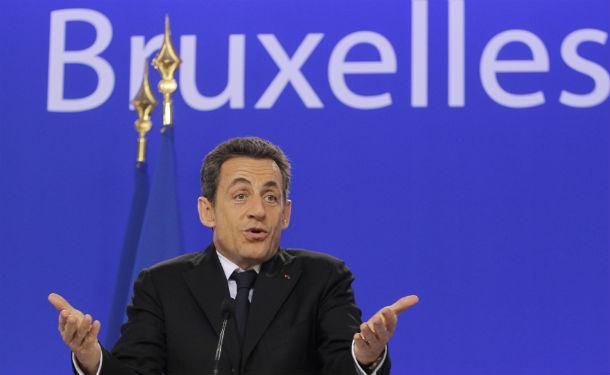 nicolas sarkozy, presidente francês, durante a cimeira europeia em bruxelas