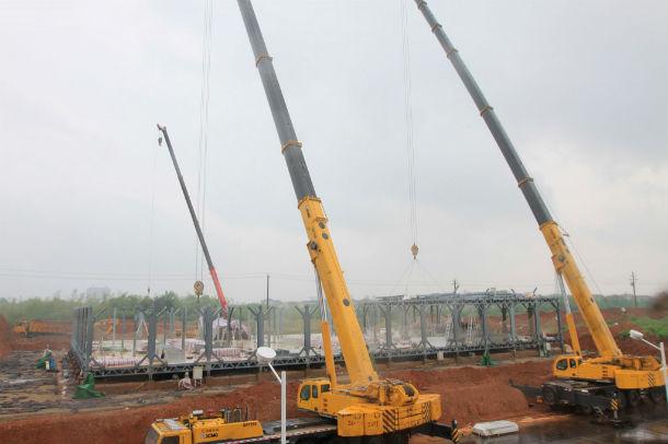 início da construção de um prédio em yueyang, china