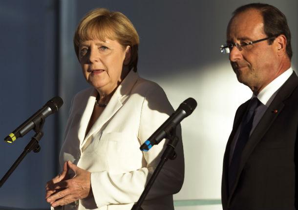 a chanceler alemã, angela merkel, e o presidente francês, françois hollande