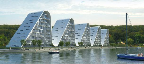 o empreendimento, que está localizado na cidade portuária vejle, tem 100 apartamentos