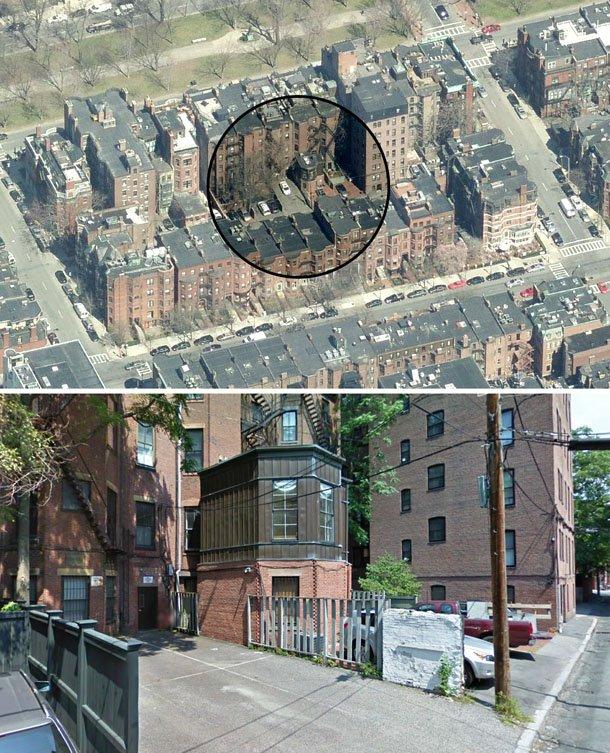 imagem aérea e na zona onde se encontra o lugar de garagem milionário