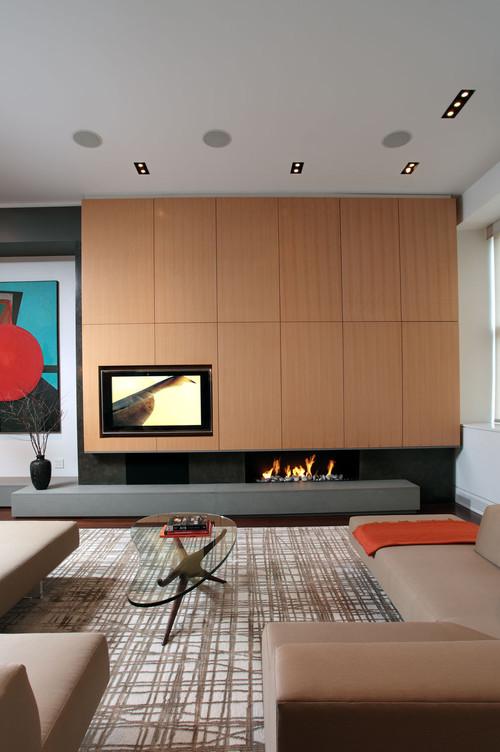 Decora o ideias para conciliar a televis o com a lareira - Decoracion chimeneas electricas ...