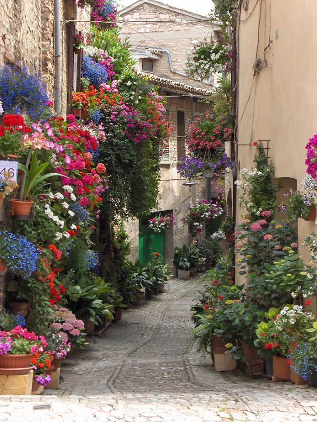 Rua em Spello, Itália