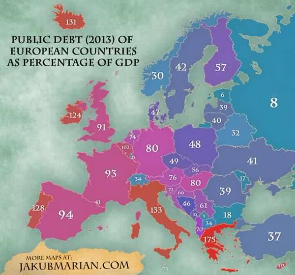 Radiografia do dia: Dívida pública dos países europeus em relação ao PIB