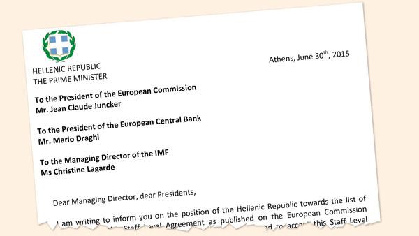 Carta enviada pelo primeiro ministro grego aos credores, divulgada pelo FT