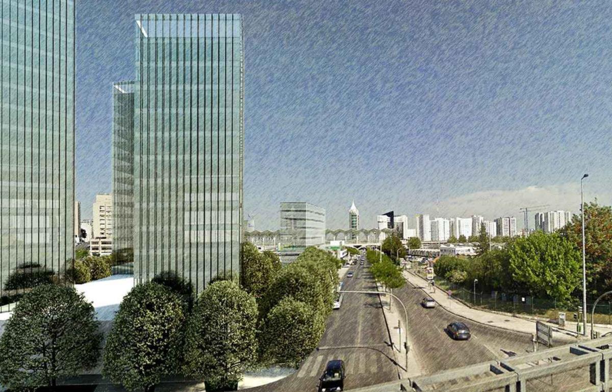 Futura torre de 92 metros à frente da Gare do Oriente em projeto - imagem divulgada pelo jornal Público.