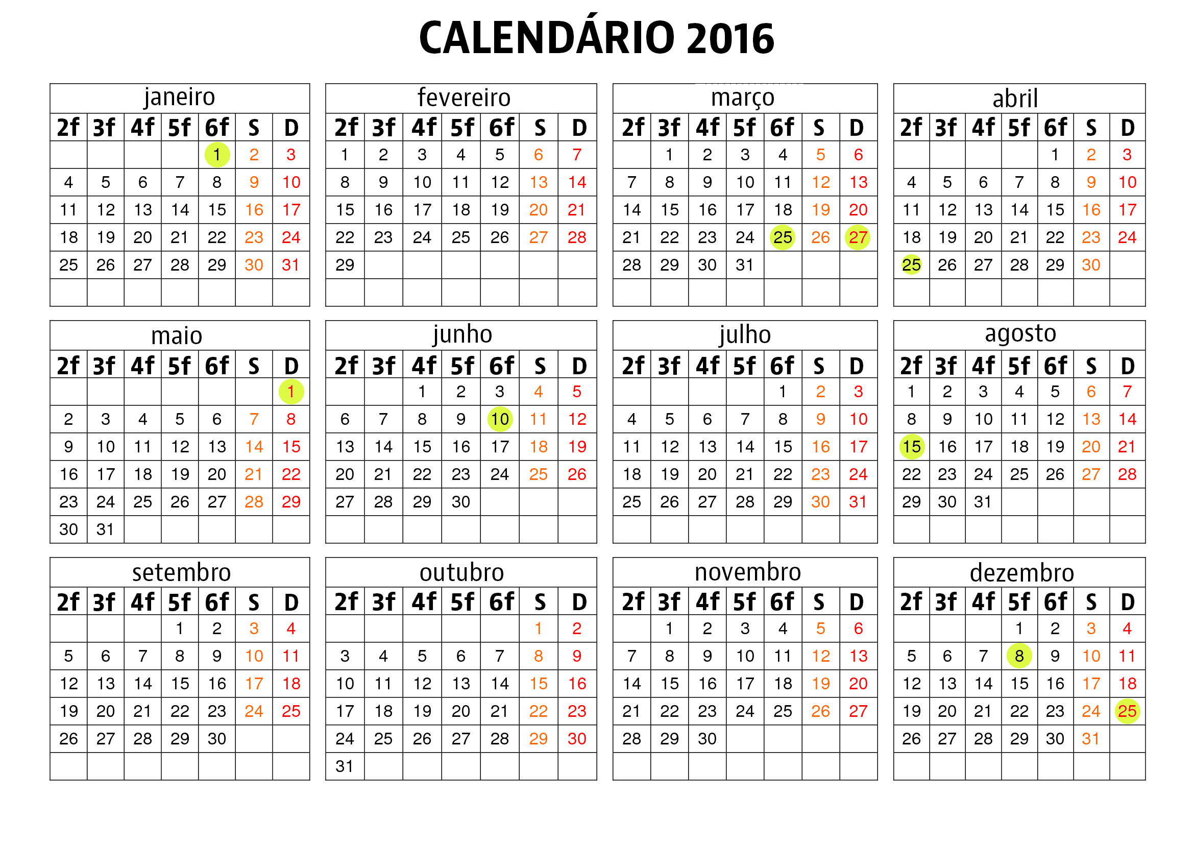 calendario junho 2015