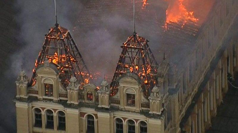 O Museu da Língua Portuguesa, em São Paulo, foi devastado por um incêndio (Foto: TSF).