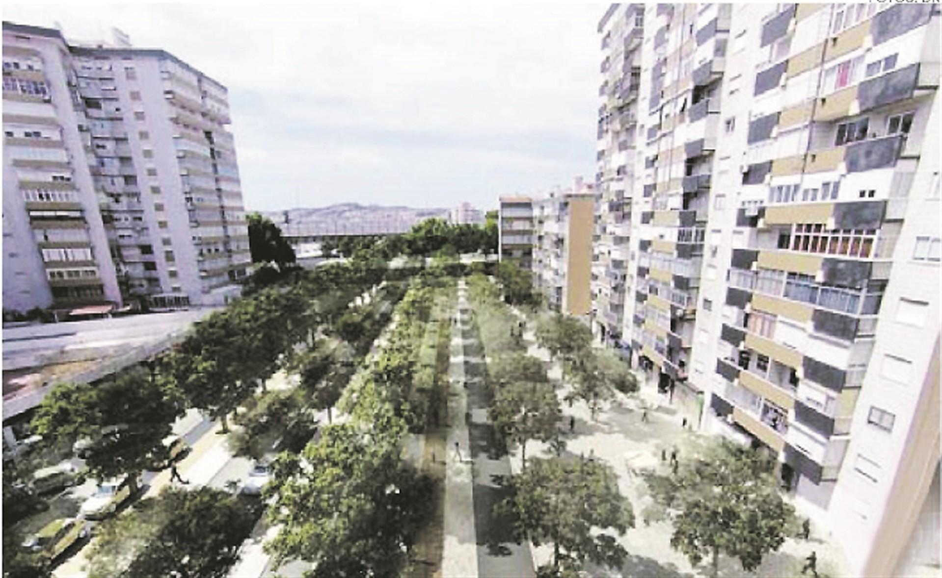 Assim será a futura Alameda das Linhas de Torres (Foto: Diário de Notícias).