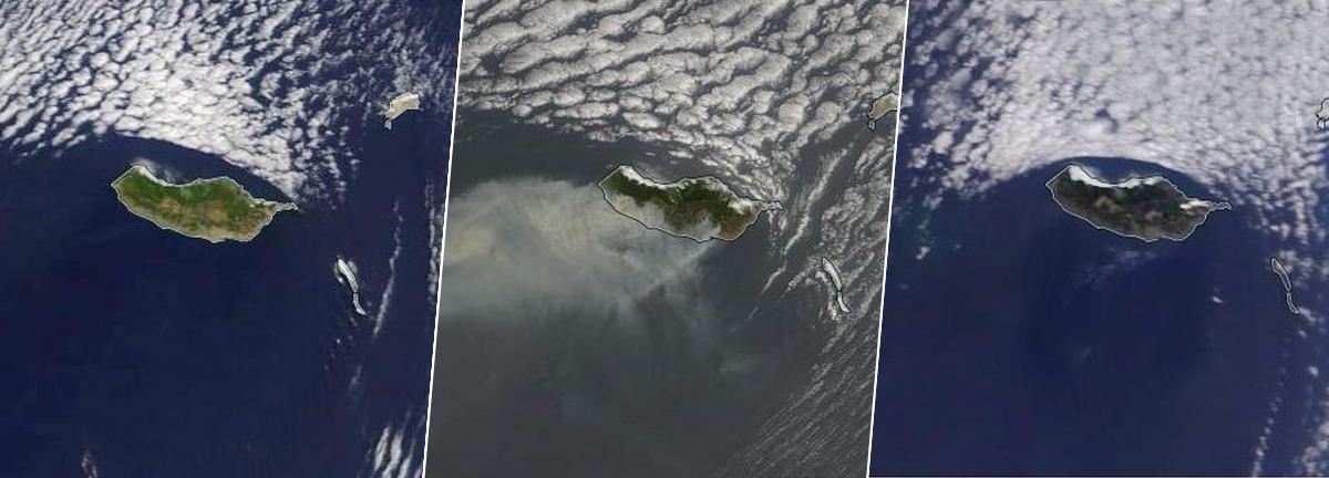 A Madeira vista pelos satélites da Nasa, antes e depois do fogo