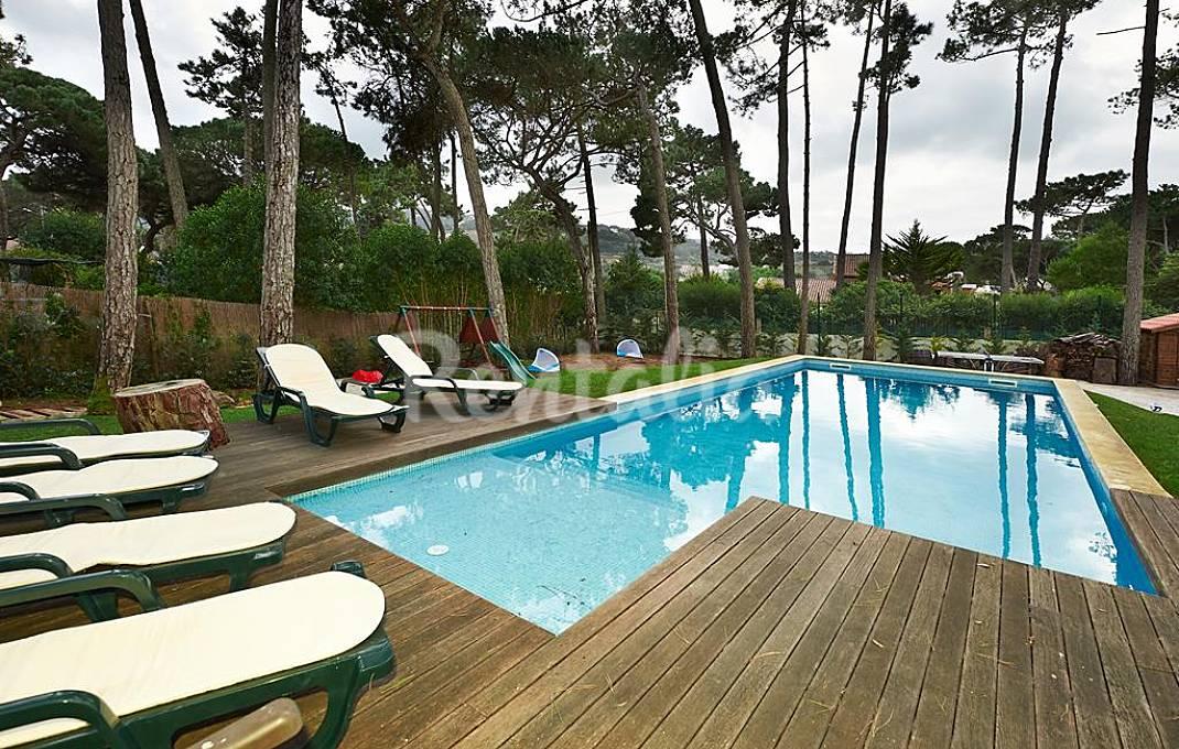 A piscina e o jardim.