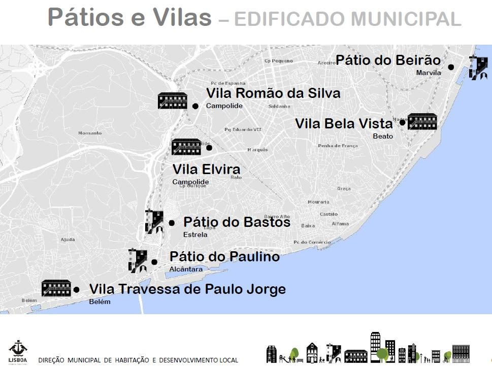 Estes serão os primeiros sete pátios e vilas alvo de reabilitação. / Câmara Municipal de Lisboa