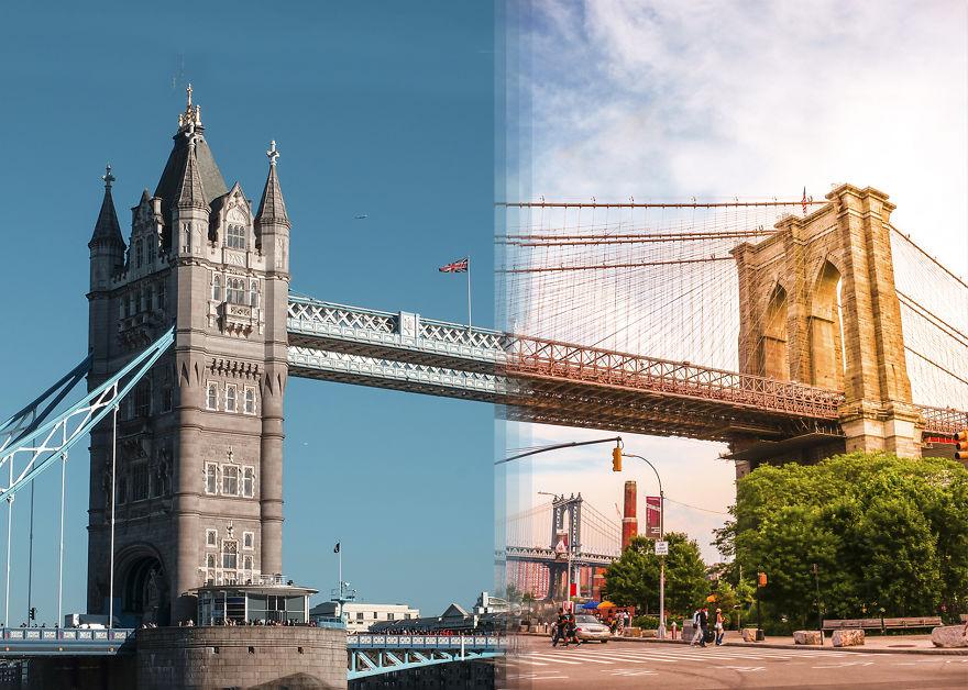 Tower Bridge em Londres Vs Brooklyn Bridge em Nova Iorque. / Bored Panda