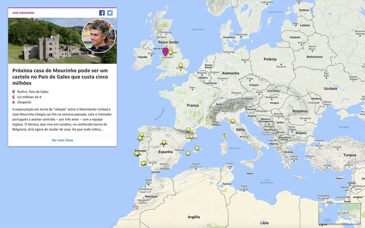 Onde vivem os famosos? Este mapa mostra-te como são as suas casas