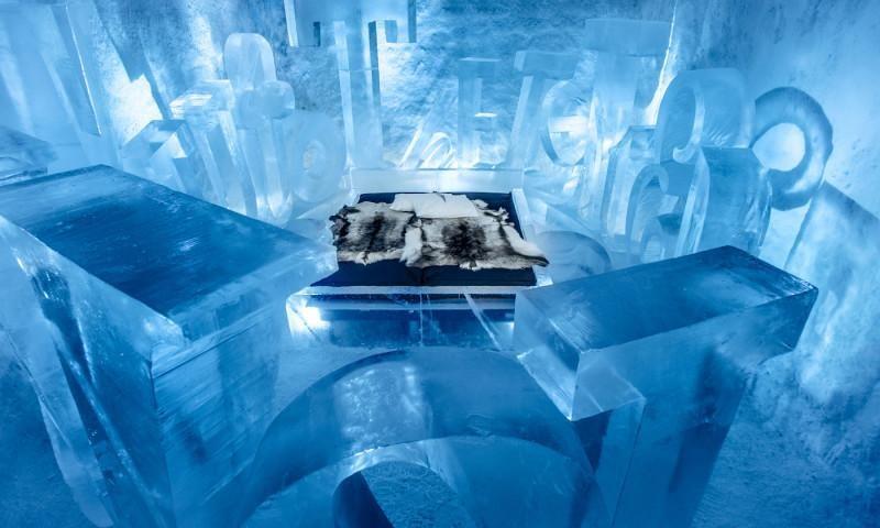 Um hotel de gelo, na Suécia