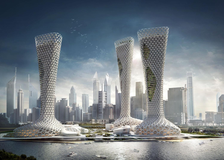 O aspeto das três torres em conjunto