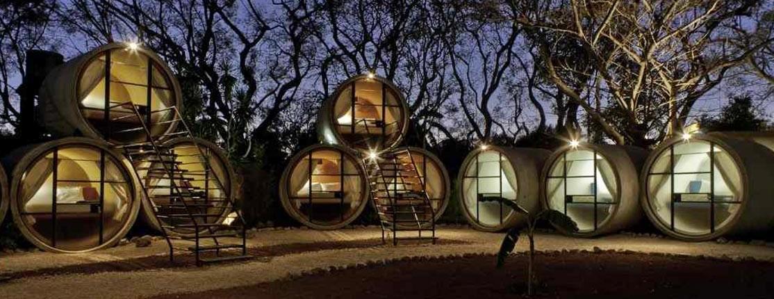 Hotéis em tubos de cimento