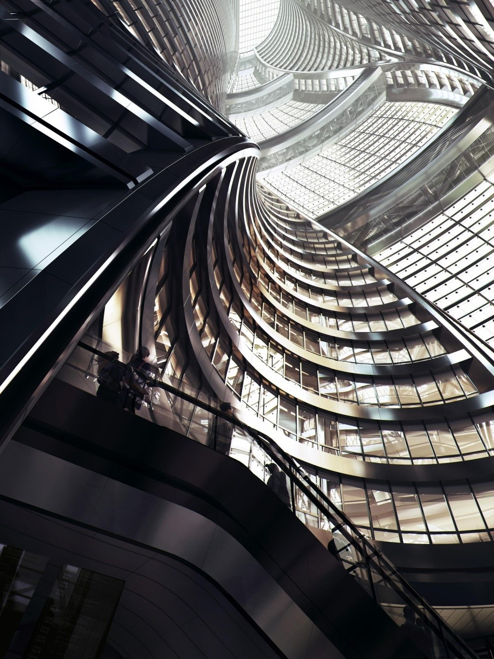 Um arranha-céus com pátio interior em Pequim