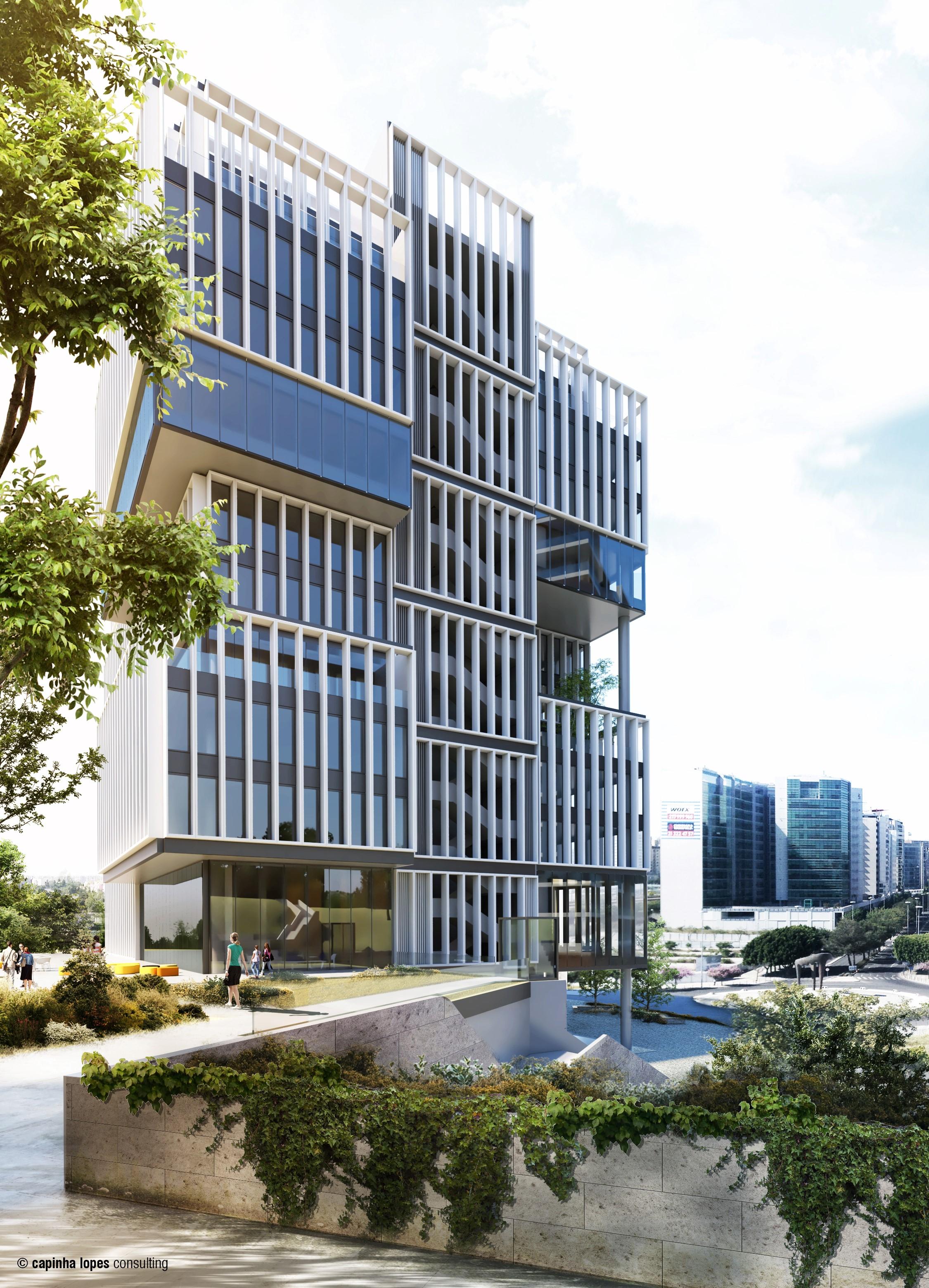 A futura sede, no Parque das Nações / Capinhas Lopes consulting via Cushman & Wakefield