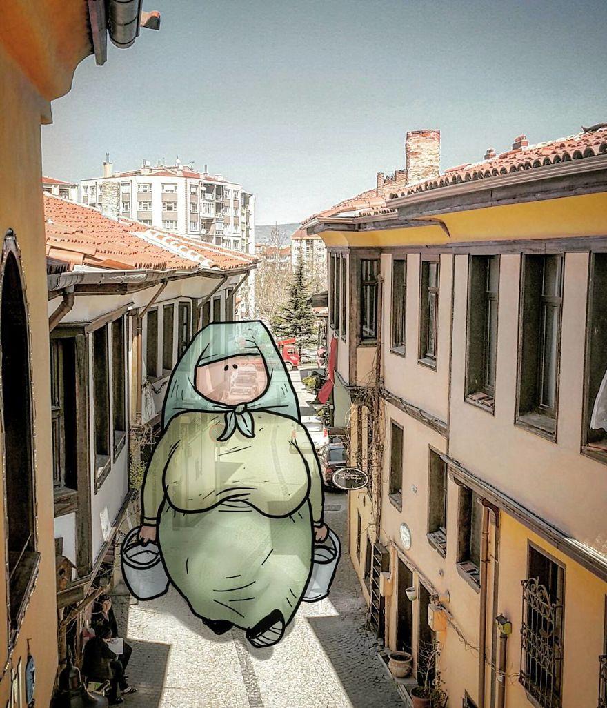 ... e alguém descontraído pelas ruas da Turquia