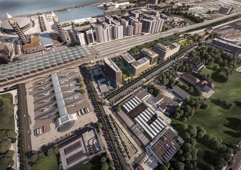 Vista panorâmica do projeto, que é composto por três edifícios distintos