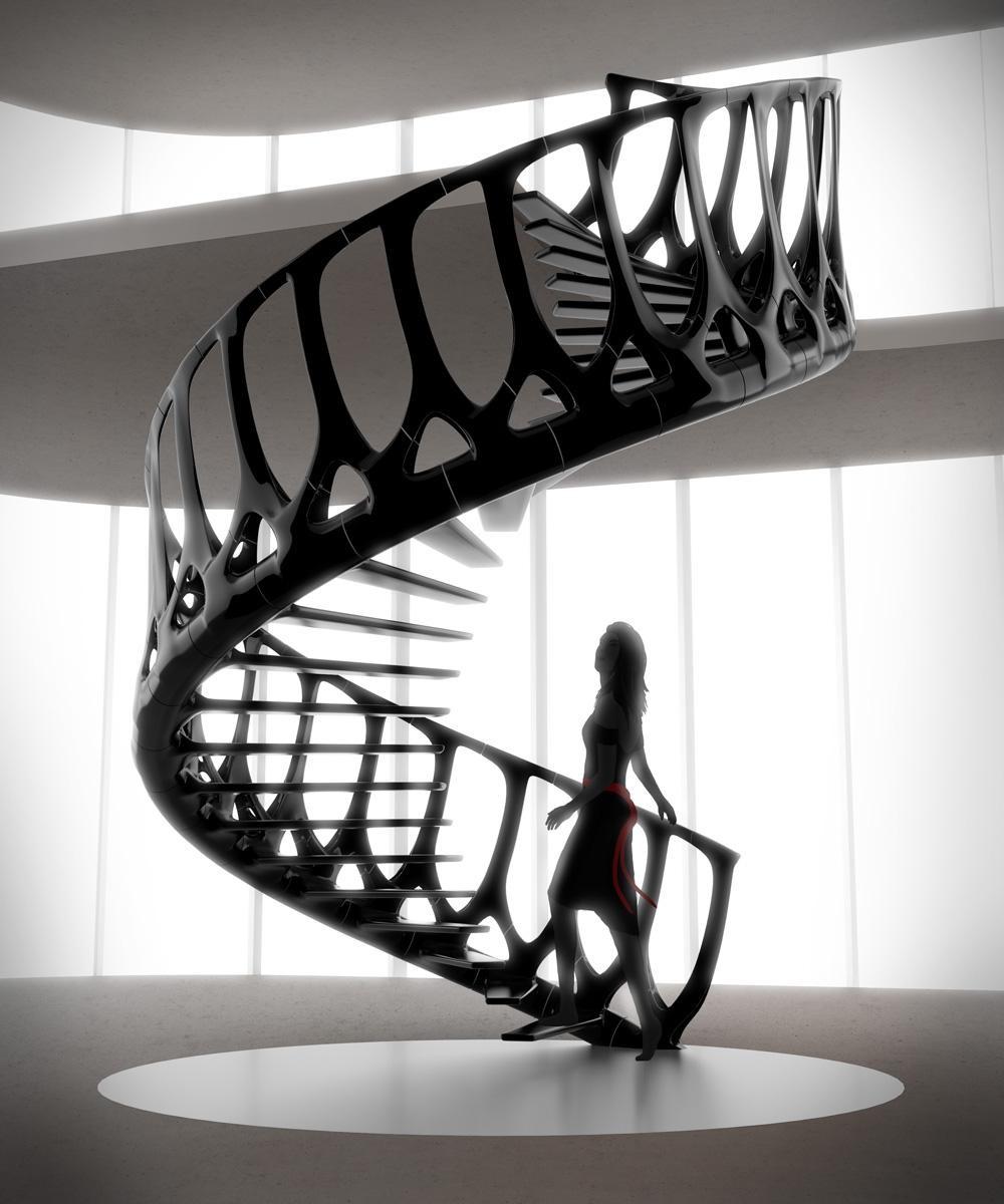 Escadas em forma de coluna vertebral
