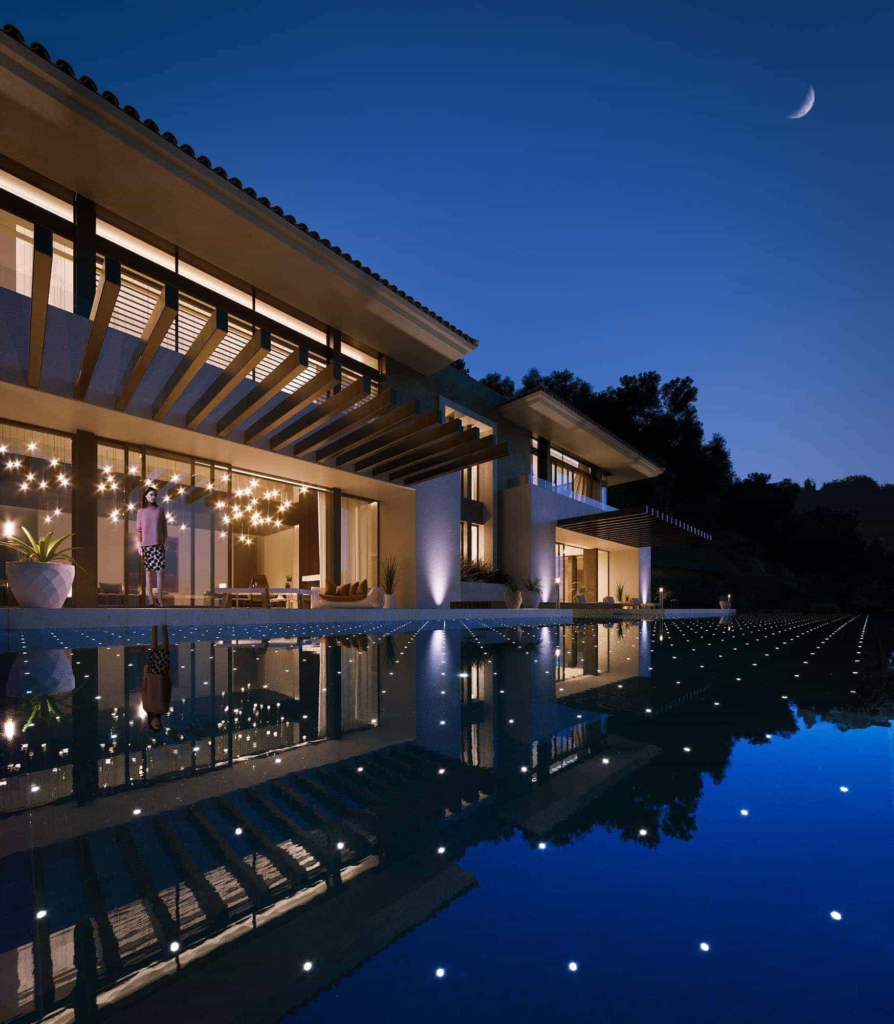 Uma mansão que brilha também à noite