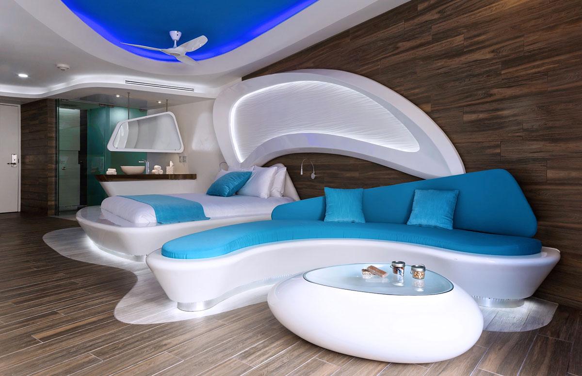 Uma suite em tons de azul