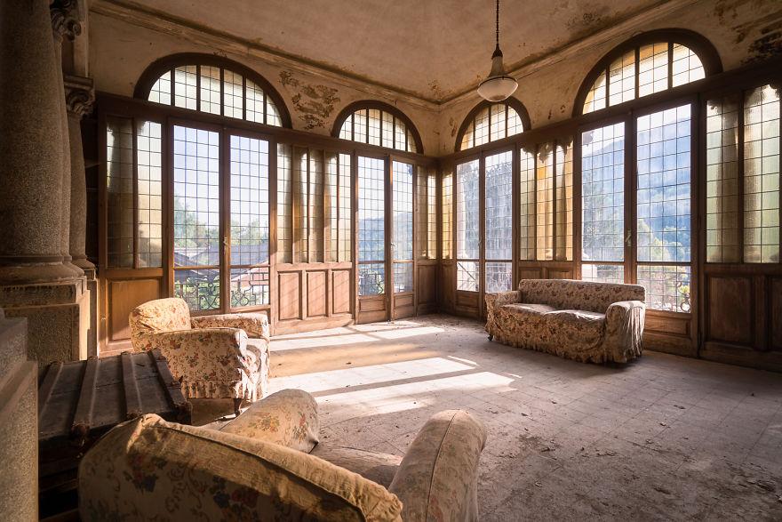 As vistas espetaculares desta sala de estar
