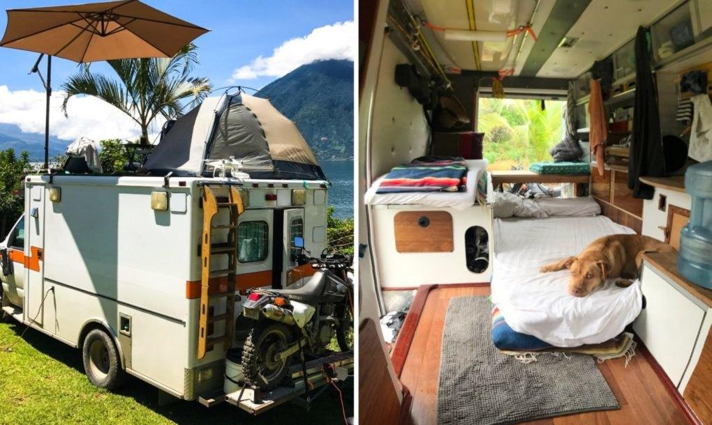 Fotografias do interior e exterior da antiga ambulância