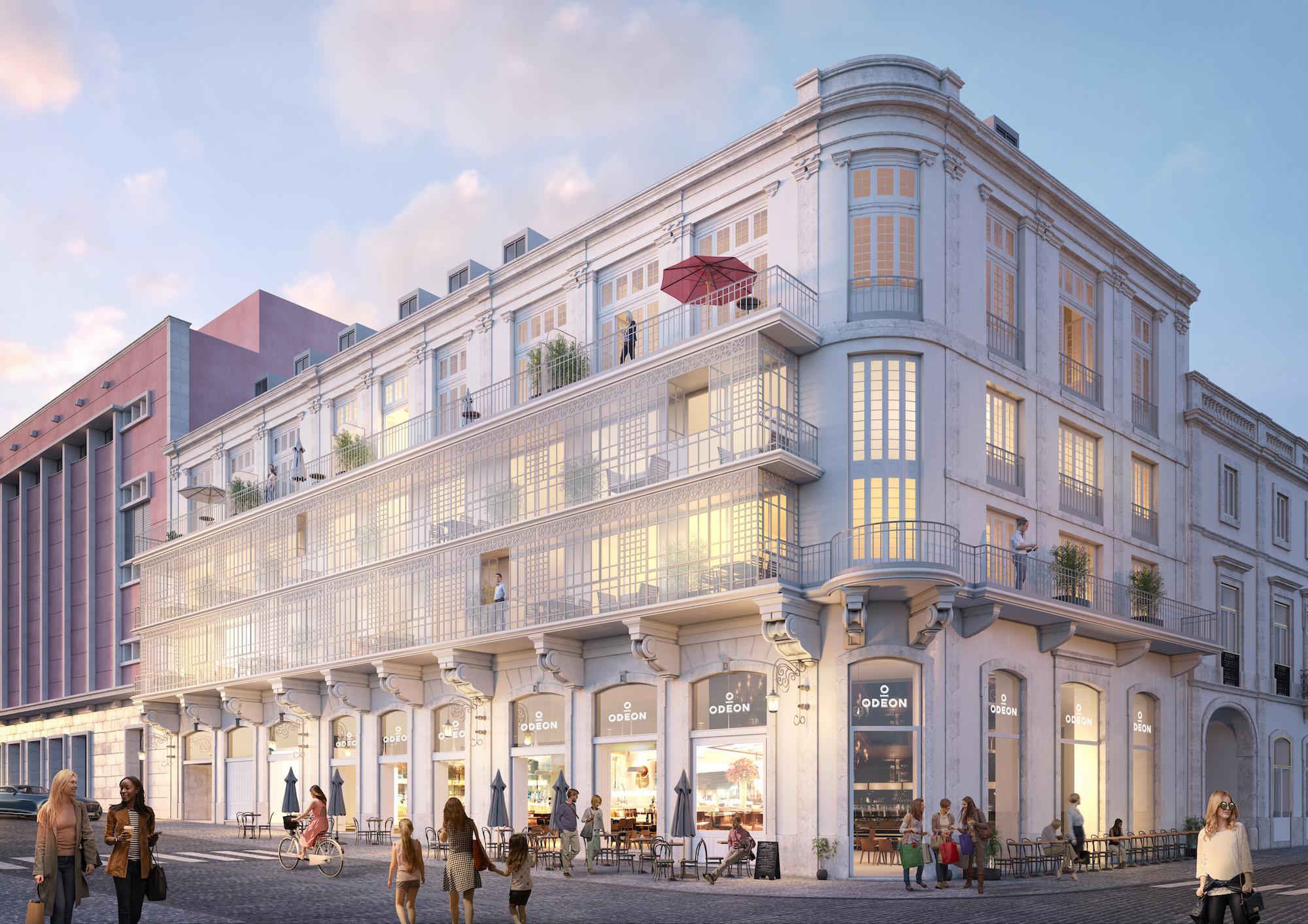 Assim será a fachada do icónico edifício Odeon, que terá dez apartamentos de luxo / ODEON Properties