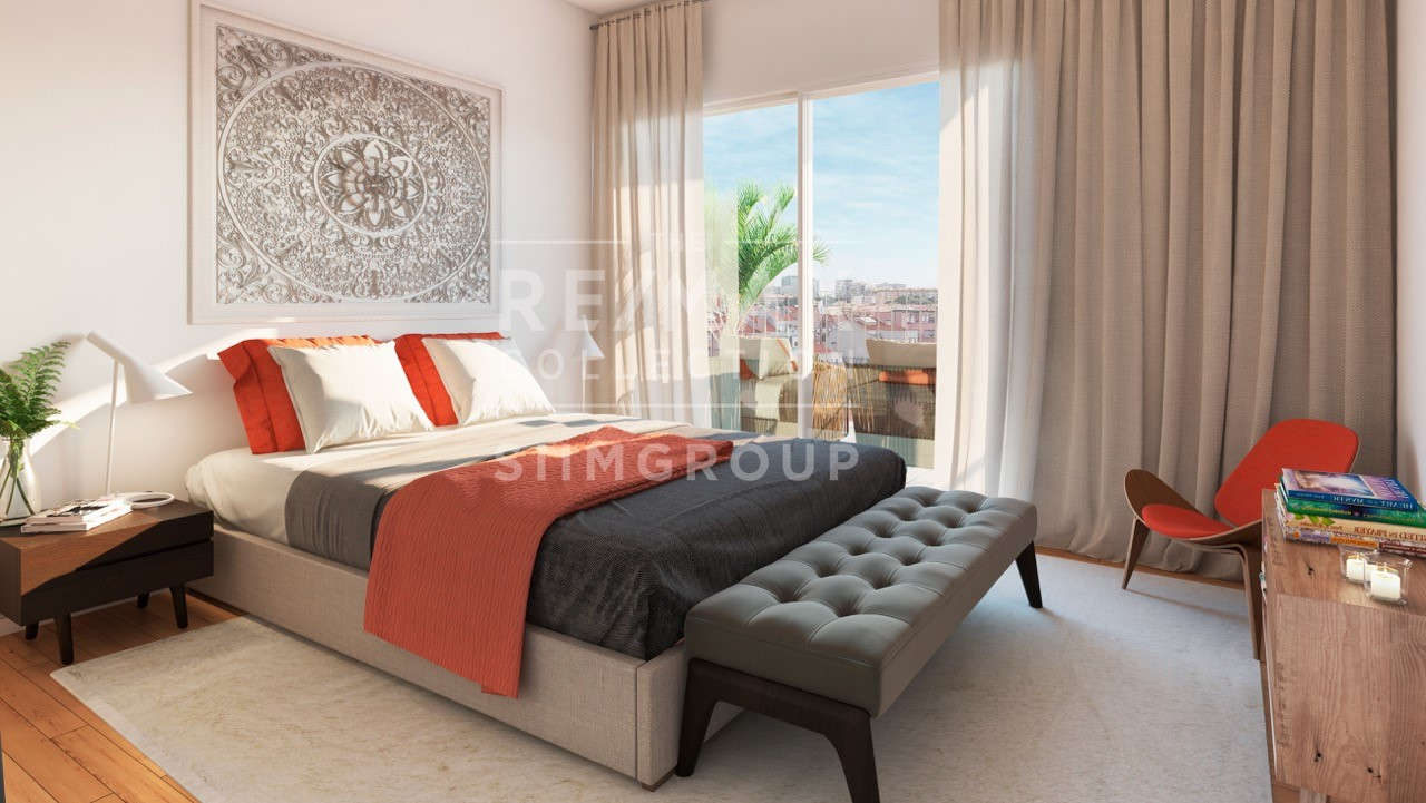 Maquete do quarto de um dos apartamentos do Saldanha Modern / Siimgroup