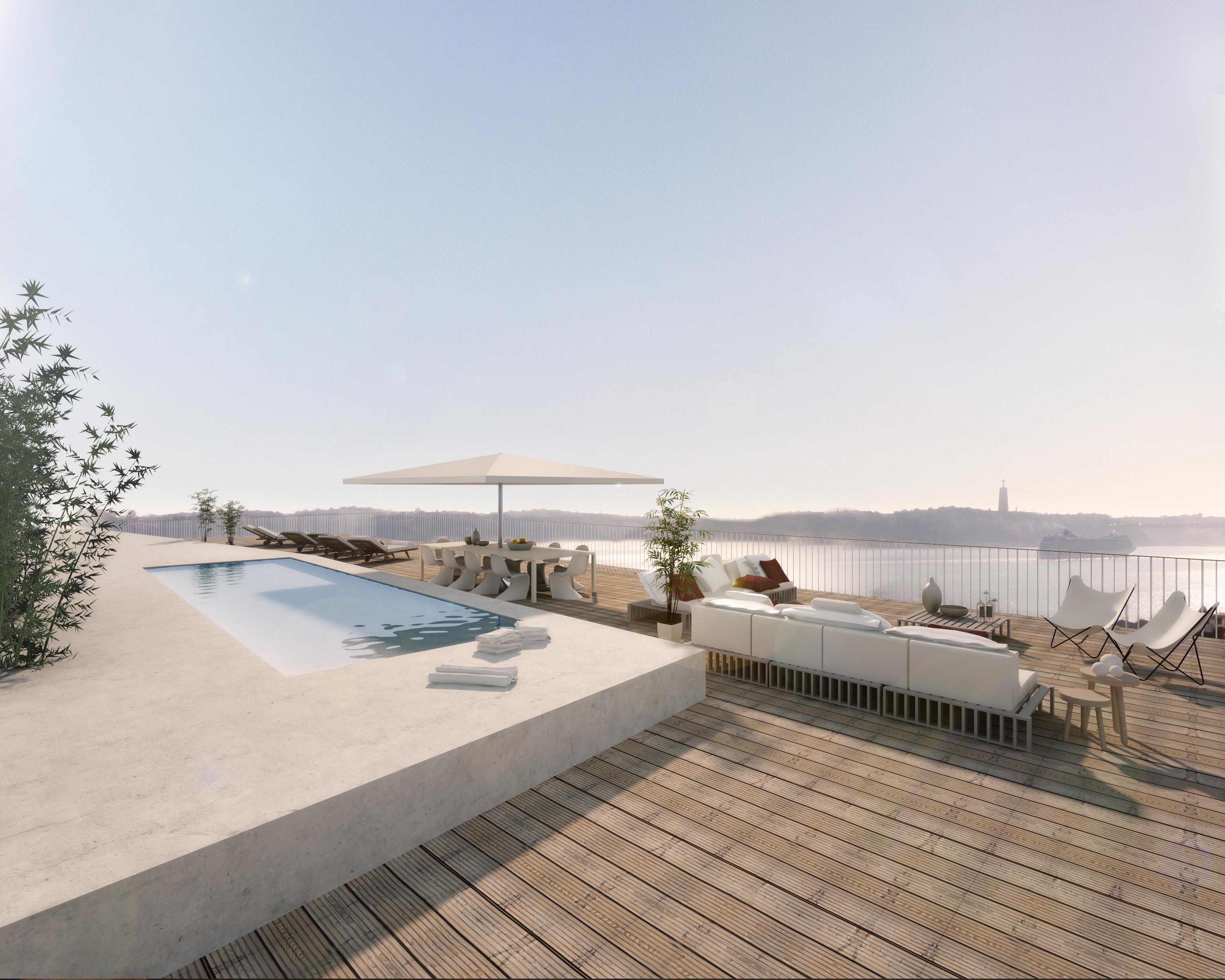 Vai um mergulho na piscina do terraço?