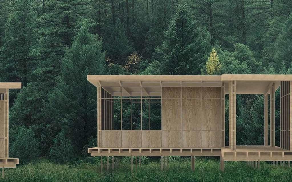Casa de madeira em processo de montagem