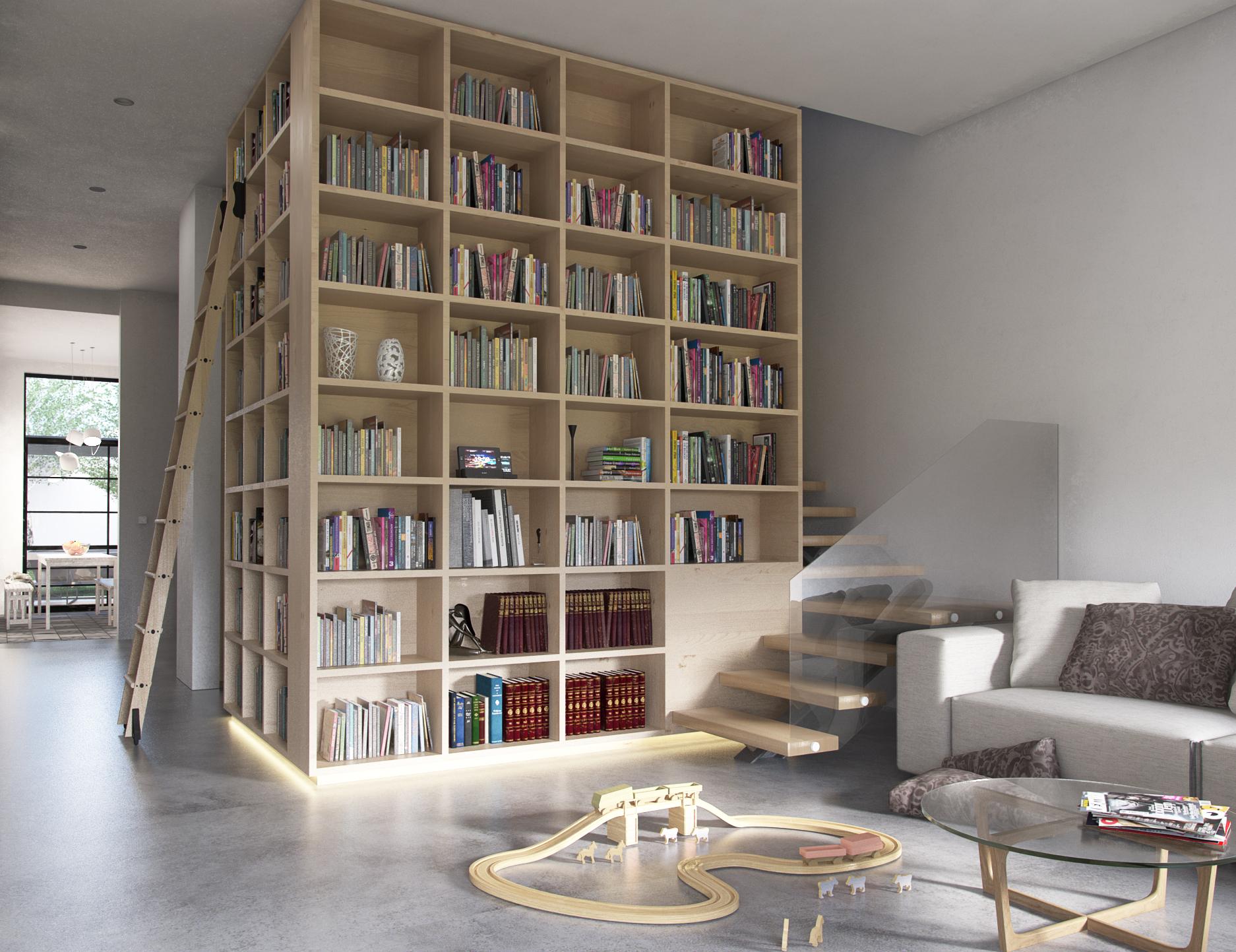 Transição sala/corredor com demolição de parede para criação de arrumação para livros e bibelots / MELOM