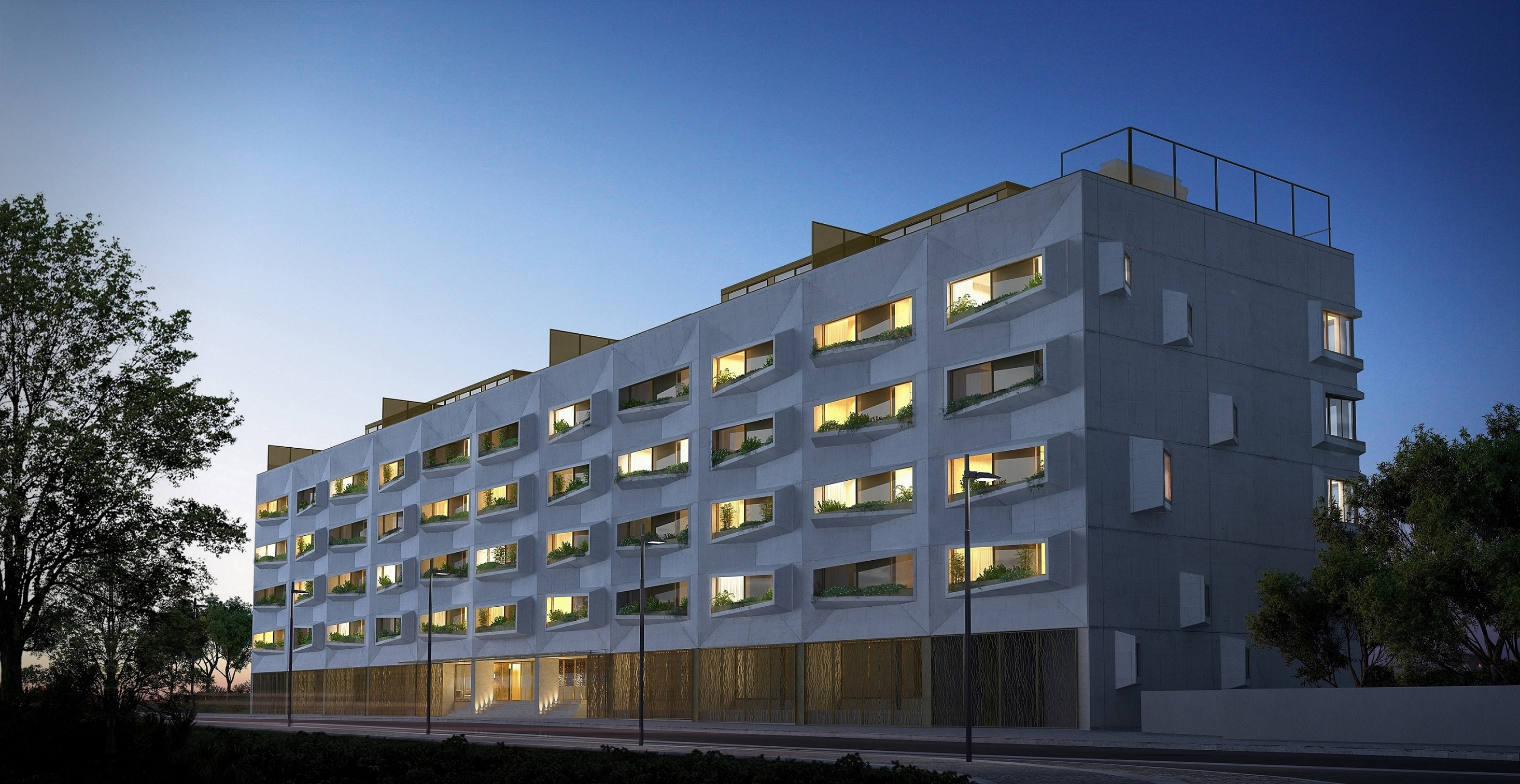 Fachada do projeto residencial de luxoEssenza, junto ao Parque da Cidade, no Porto / Lucios Real Estate