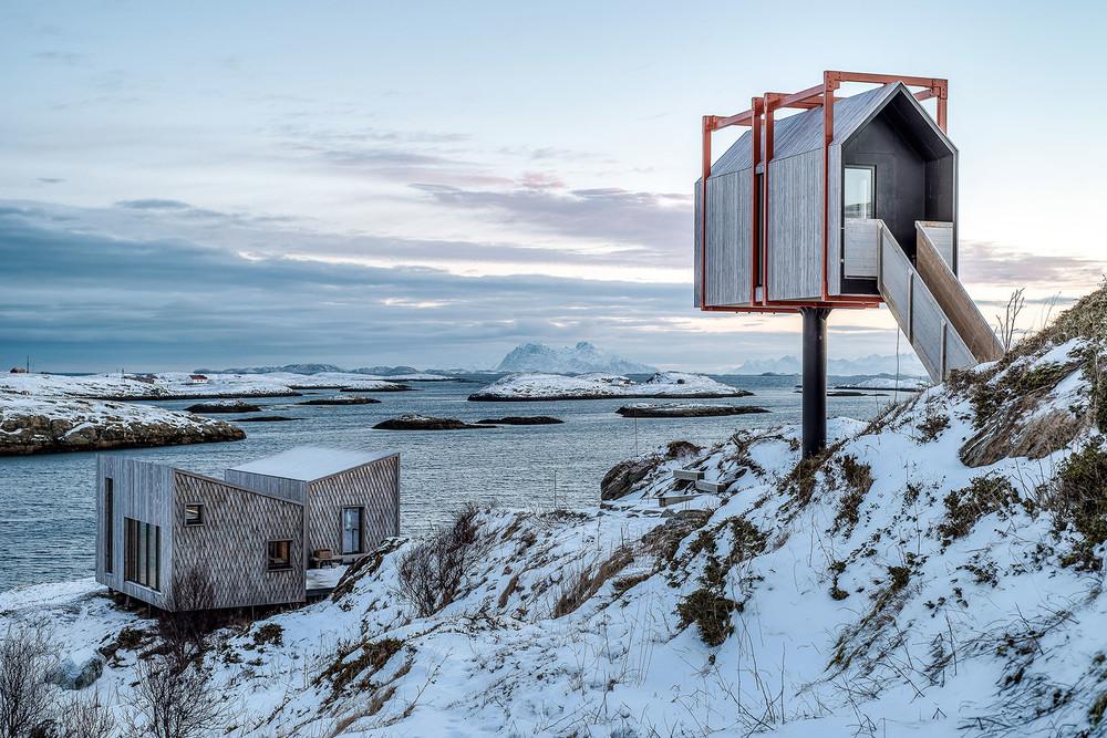 Refugio Fleinvær, na ilha Fleinvær Island, em Nordland, Noruega