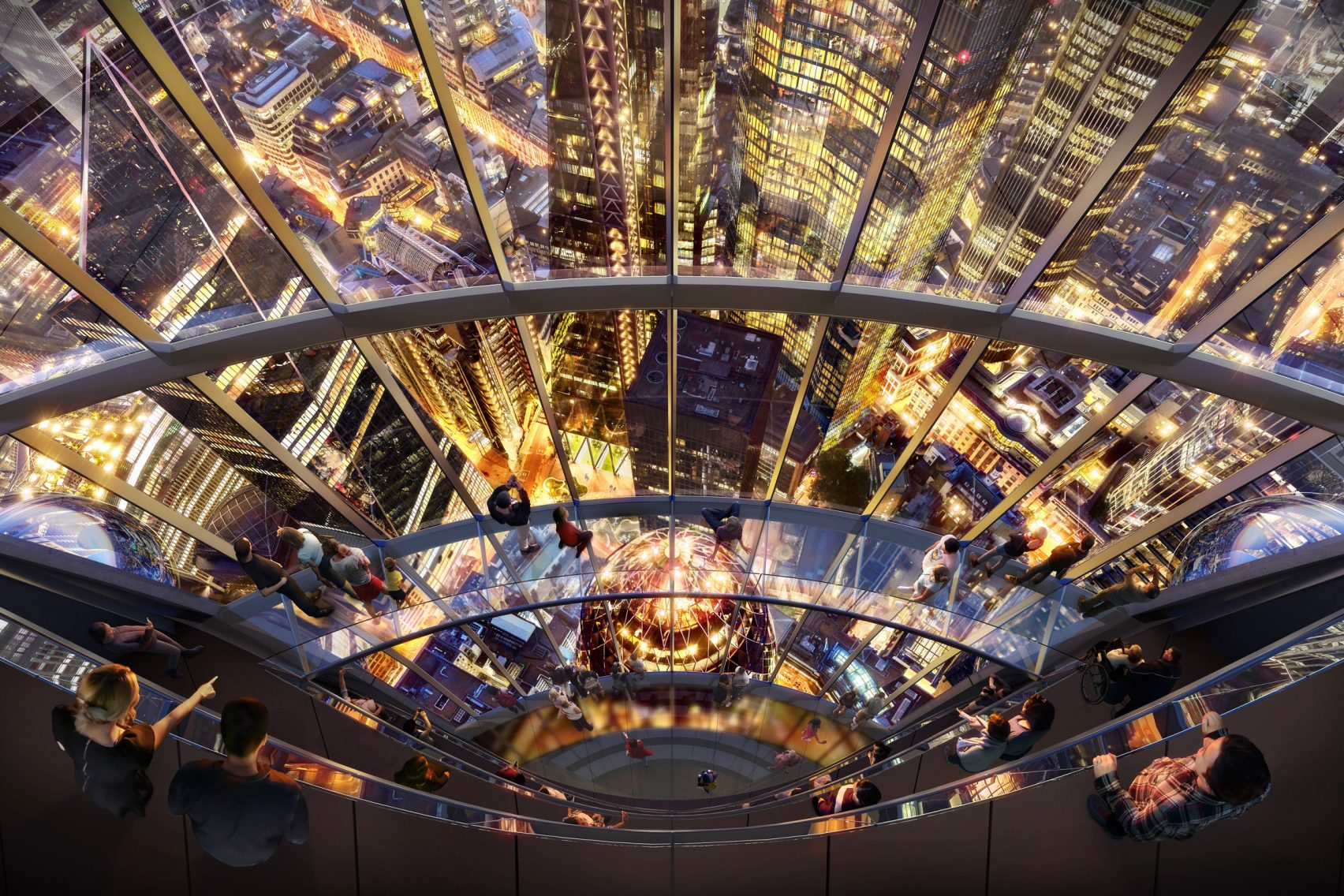 O interior do moderno arranha-céus