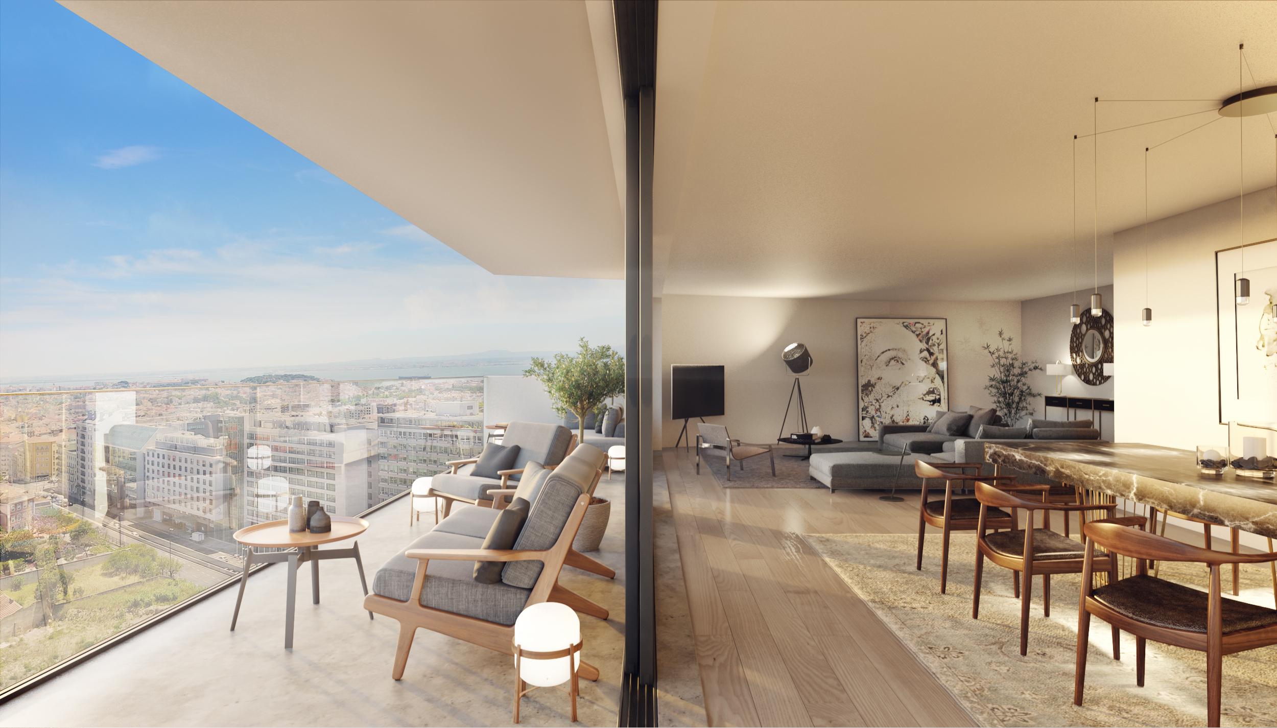 Terá grandes varandas com vistas de perder o fôlego sobre Lisboa / Vanguard Properties