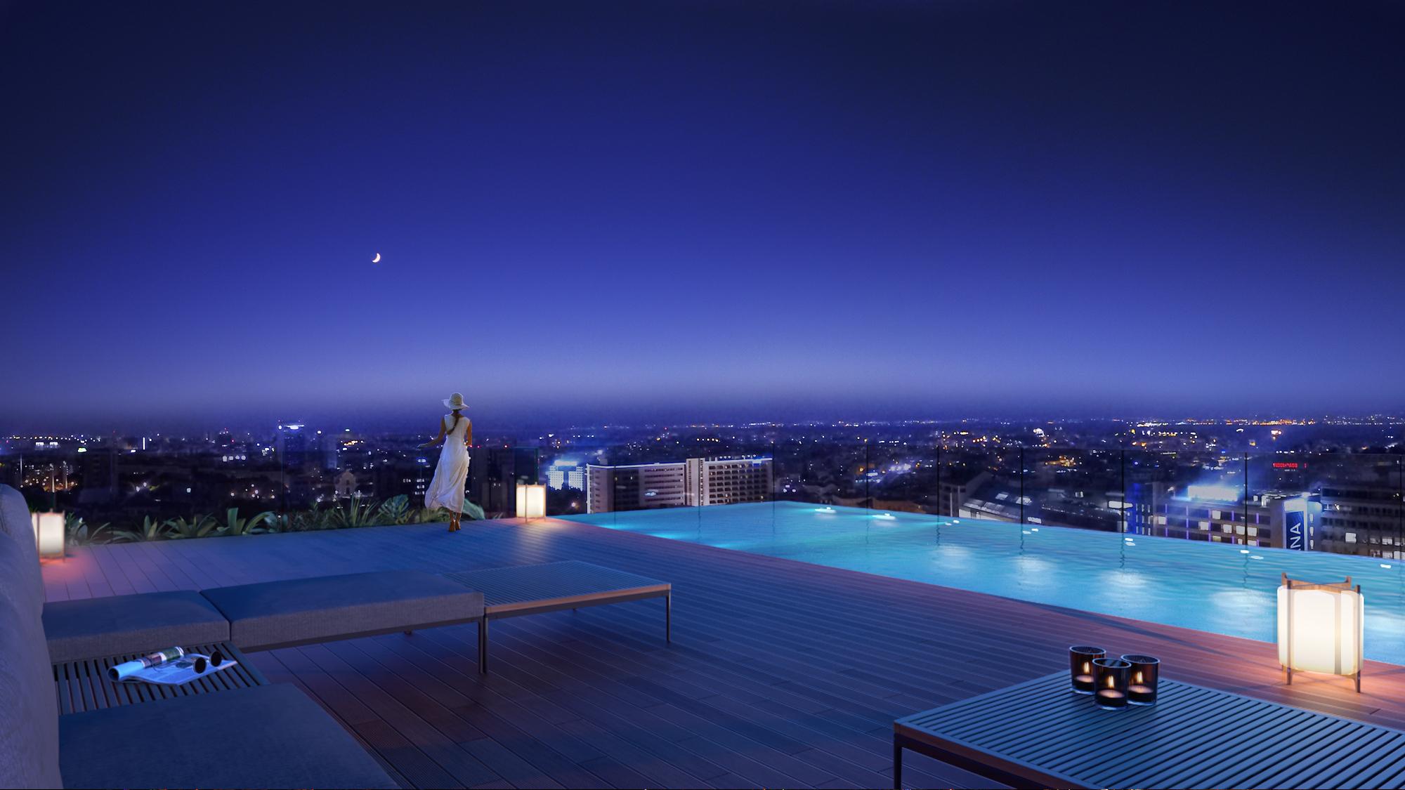 A A'Tower terá uma piscina exterior no telhado / Vanguard Properties