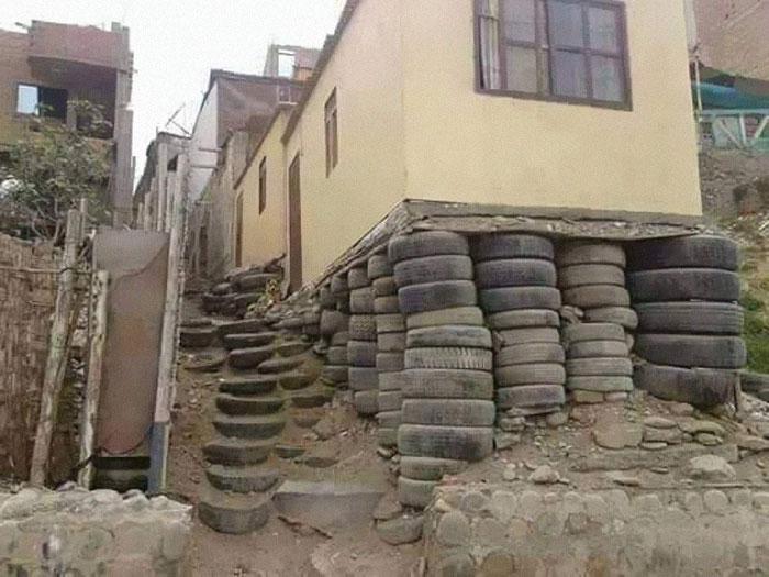 Casa segura com pneus