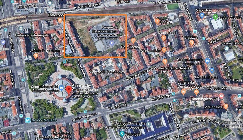 Trata-se de um terreno com cerca de 39.000 m2 na Avenida Sacadura Cabral, junto ao Campo Pequeno / Google Maps