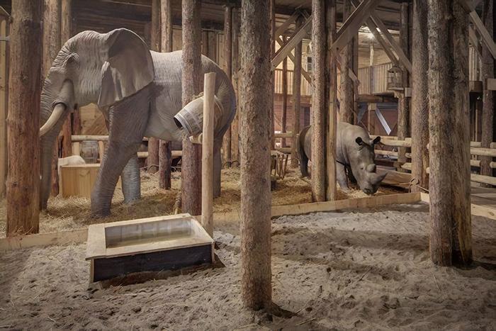 Várias esculturas de animais em madeira