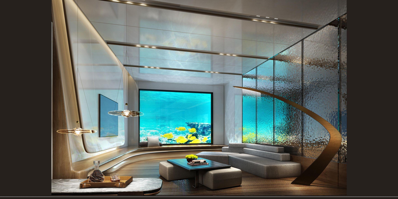 Aqui uma sala, também rodeada pela vida marinha