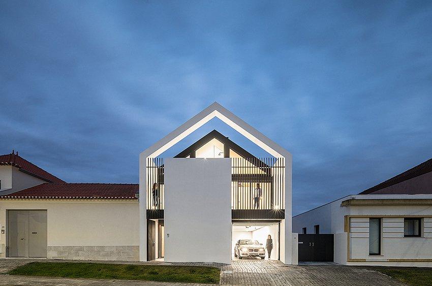A fachada principal da casa