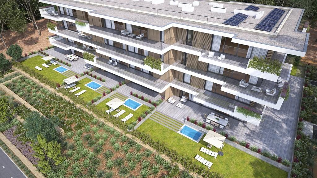 Maquete de um lote de apartamentos do projeto Lisbon Green Valley / Grupo André Jordan