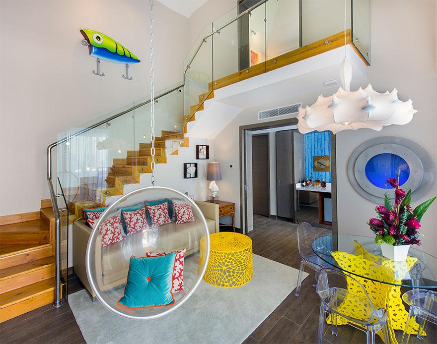 O interior do alojamento
