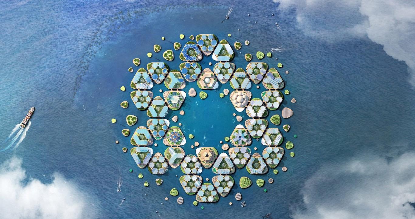 As plataformas hexagonais atracadas no fundo do oceano