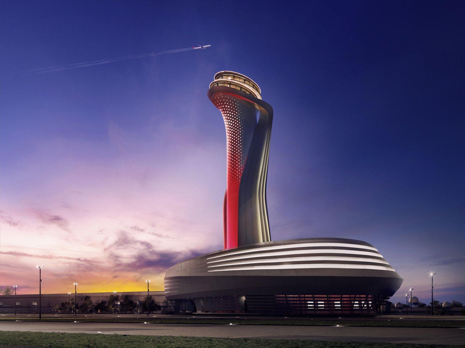 A torre de controlo em forma de tulipa