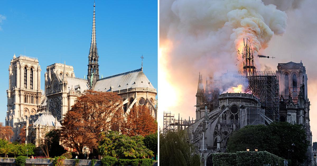 O antes e depois do Notre Dame em Paris